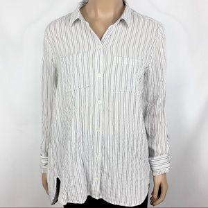 J. Jill Striped Button Down Blouse Shirt